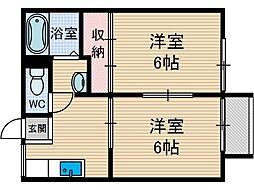 田村ハイツ2[1階]の間取り