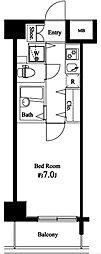 東京メトロ有楽町線 新木場駅 徒歩26分の賃貸マンション 6階1Kの間取り