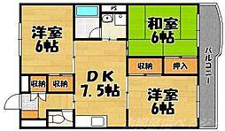 福岡県北九州市小倉北区霧ケ丘3丁目の賃貸マンションの間取り