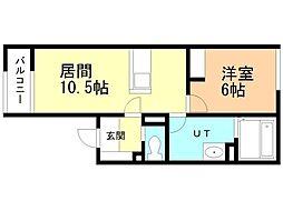 札幌市営東豊線 栄町駅 徒歩1分の賃貸アパート 1階1LDKの間取り