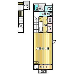 愛知県名古屋市中川区服部4の賃貸アパートの間取り