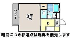 京都府京都市左京区松ケ崎河原田町の賃貸アパートの間取り