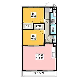 愛知県名古屋市緑区大高町字儀長の賃貸マンションの間取り