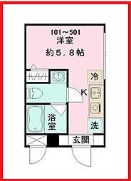 東京都台東区三ノ輪1丁目の賃貸マンションの間取り