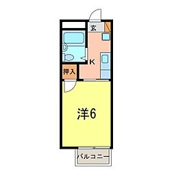 刈谷市 ハイツ神田[0203号室]の間取り