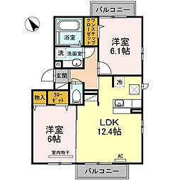 東京都昭島市玉川町5丁目の賃貸アパートの間取り