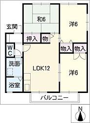 愛知県豊明市新田町南山の賃貸アパートの間取り