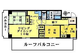 東中野パークマンション 5階3LDKの間取り