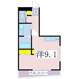 鹿児島市電1系統 二中通駅 徒歩6分の賃貸マンション 3階1Kの間取り