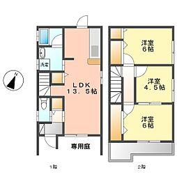 名古屋市営鶴舞線 庄内緑地公園駅 徒歩5分の賃貸一戸建て 2階3LDKの間取り