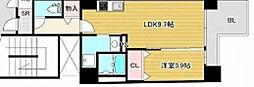 Osaka Metro谷町線 南森町駅 徒歩4分の賃貸マンション 10階1LDKの間取り