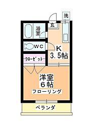 第二田辺コーポ[102号室]の間取り