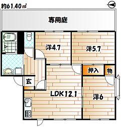 福岡県北九州市八幡西区浅川学園台2丁目の賃貸アパートの間取り