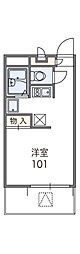 近鉄長野線 滝谷不動駅 徒歩3分の賃貸マンション 2階1Kの間取り