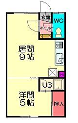 神楽岡マンション 1階1LDKの間取り