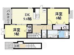 泉北高速鉄道 深井駅 徒歩20分の賃貸アパート 2階2DKの間取り
