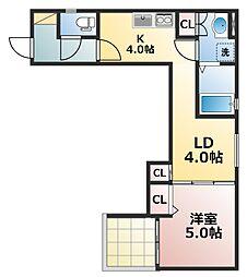 Osaka Metro中央線 深江橋駅 徒歩14分の賃貸アパート 1階1DKの間取り