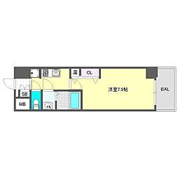 ララプレイス大阪ドームシティフトゥーロ 2階1Kの間取り