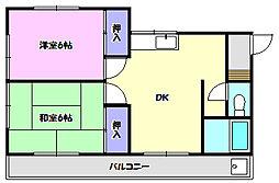 アーバンハイツ米ノ井[203号室]の間取り
