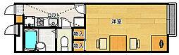 レオパレスASEBAIII 2階1Kの間取り