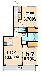 (仮)D-room西綾瀬[205号室]の間取り