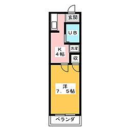 ベストハイツ三ツ井II[1階]の間取り