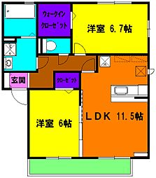 静岡県浜松市南区東町の賃貸アパートの間取り