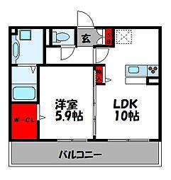 フェリーチェ B棟 3階1LDKの間取り