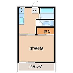 埼玉県東松山市松葉町2丁目の賃貸アパートの間取り