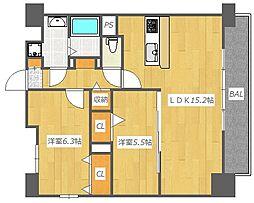 大阪府高槻市上土室6丁目の賃貸マンションの間取り