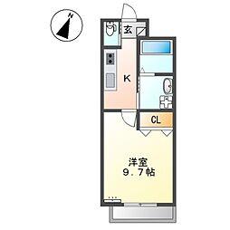 (仮)那覇市牧志M様新築マンション 4階1Kの間取り