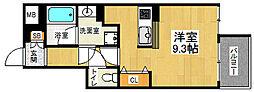 叡山電鉄叡山本線 元田中駅 徒歩8分の賃貸マンション 2階1Kの間取り