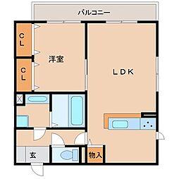 兵庫県尼崎市富松町2丁目の賃貸アパートの間取り