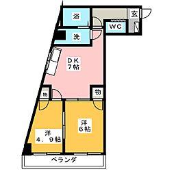 ハニーハイツ渡辺II[10階]の間取り
