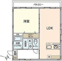 双風館 4階1LDKの間取り