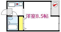 原田ハイツ 2階ワンルームの間取り