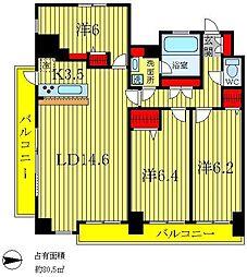 埼玉県三郷市中央2丁目の賃貸マンションの間取り