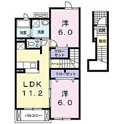 プレスティージュ スッド[2階]の間取り