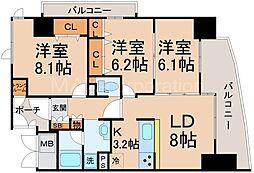 淀川イーストタワー[12階]の間取り
