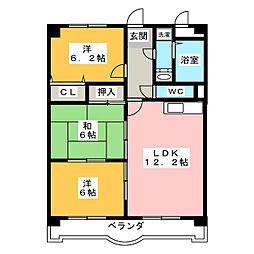 ハピネス五反田[2階]の間取り