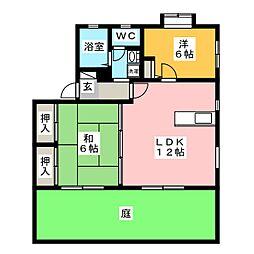レイクサイド長住B棟[1階]の間取り