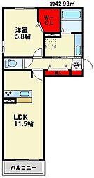 D-room博多麦野 壱番館/弐番館[1階]の間取り