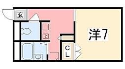 兵庫県姫路市町坪南町の賃貸アパートの間取り