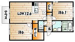 ラパン学研台A棟[1階]の間取り