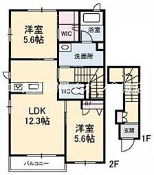 井原鉄道 川辺宿駅 徒歩15分の賃貸アパート 2階2LDKの間取り