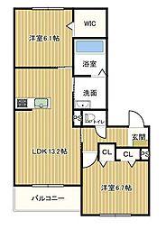 シャーメゾン明石松江[203号室]の間取り