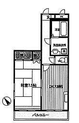 ハイツ日野台[2階]の間取り