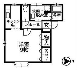 石川県白山市長屋町の賃貸アパートの間取り