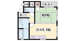 山陽電鉄本線 大塩駅 徒歩10分の賃貸マンション 1階1DKの間取り