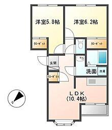 神奈川県横浜市瀬谷区下瀬谷1丁目の賃貸アパートの間取り